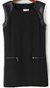 Black Contrast PU Leather Zipper Dress