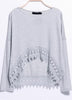 Grey Long Sleeve Lace Dipped Hem T-Shirt