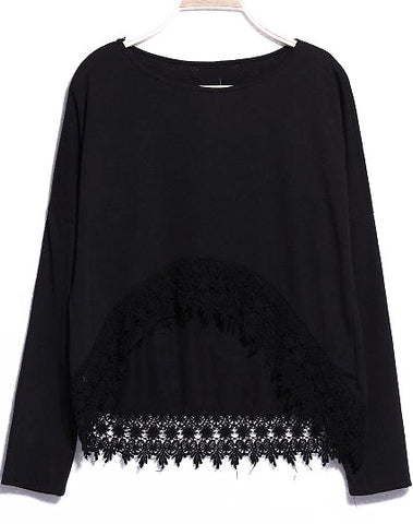 Black Long Sleeve Lace Dipped Hem T-Shirt