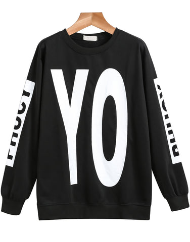 Black Long Sleeve YO Print Loose Sweatshirt
