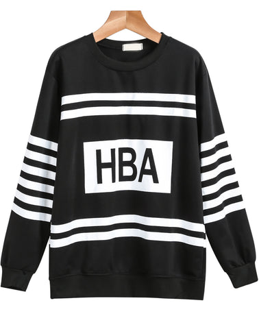 Black Long Sleeve Striped HBA Print Sweatshirt