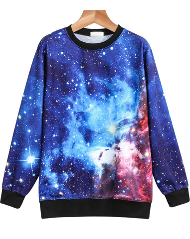 Blue Long Sleeve Galaxy Print Loose Sweatshirt