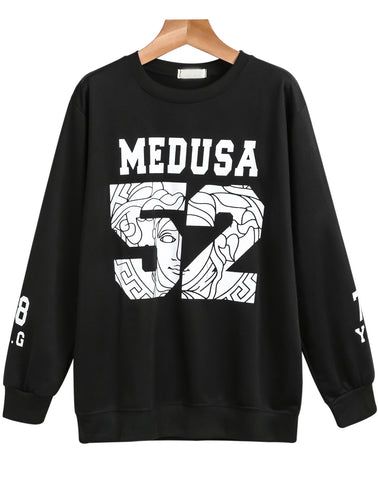 Black Long Sleeve MEDUSA 52 Print Sweatshirt