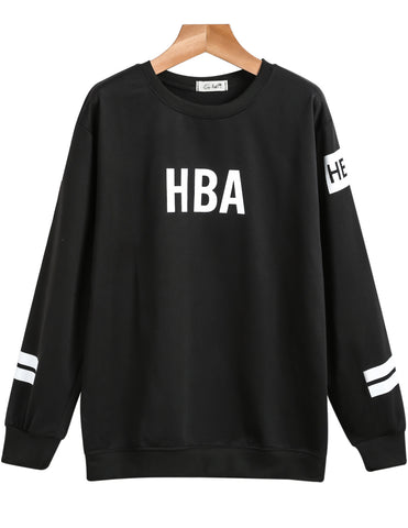 Black Long Sleeve HBA Print Loose Sweatshirt
