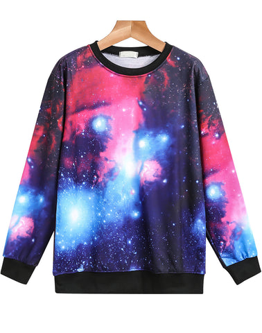 Purple Long Sleeve Galaxy Print Sweatshirt