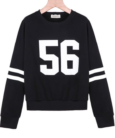 Black Long Sleeve 56 Print Loose Sweatshirt