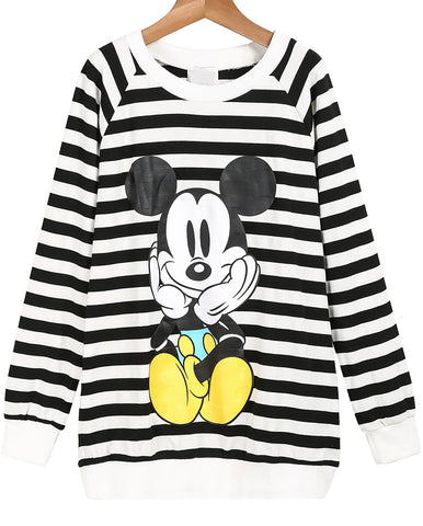 Black White Striped Long Sleeve Mickey Print Sweatshirt