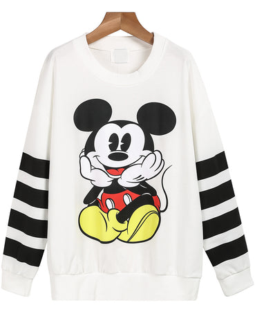 White Striped Long Sleeve Mickey Print Sweatshirt