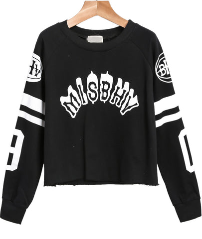 Black Long Sleeve Letters Print Crop Sweatshirt
