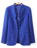 Dark Blue Long Sleeve Shoulder Pads Pockets Blazers
