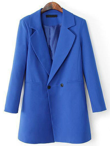 Blue Notch Lapel Long Sleeve Slim Blazer