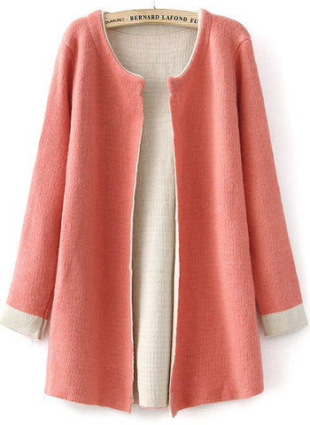 Pink Long Sleeve Slim Knit Cardigan