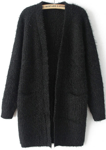Black Long Sleeve Pockets Knit Cardigan