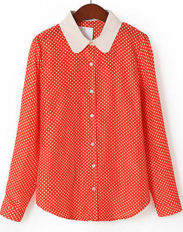 Red Contrast Collar Long Sleeve Polka Dot Blouse