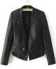 Black Long Sleeve Vintage PU Leather Jacket