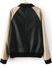 Black Contrast Long Sleeve Pockets PU Jacket