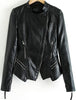 Black Long Sleeve Zipper Pockets Crop Jacket