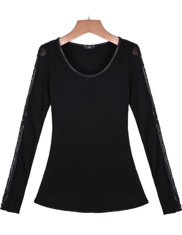 Black Long Sleeve Contrast PU Leather Hollow T-Shirt