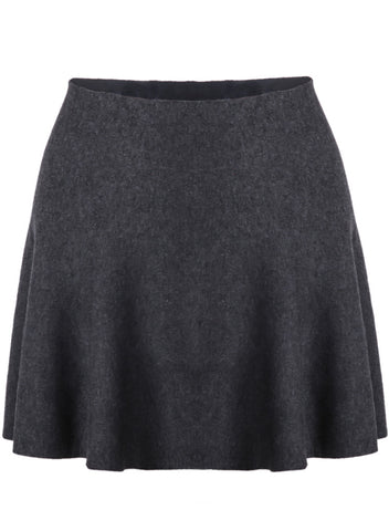 Grey Ruffle Knit Skirt