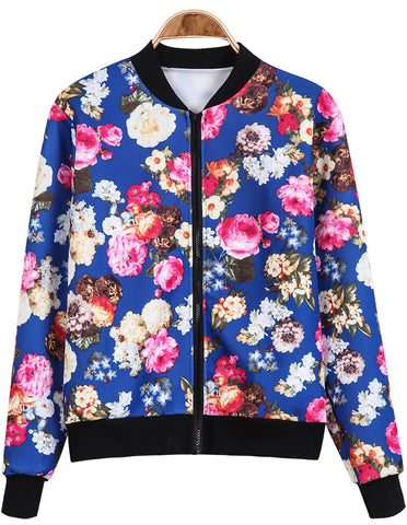 Blue Stand Collar Long Sleeve Floral Jacket