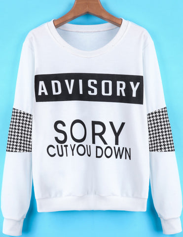 White Long Sleeve Houndstooth Letters Print Sweatshirt