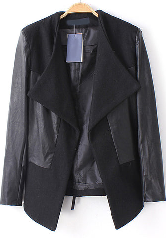 Black Contrast PU Leather Slim Blazer