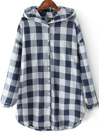 Blue Hooded Long Sleeve Plaid Loose Blouse
