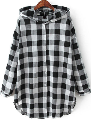 Black Hooded Long Sleeve Plaid Loose Blouse