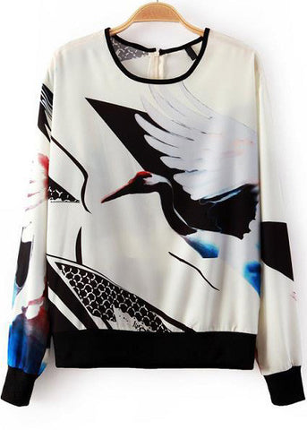 White Long Sleeve Crane Print Loose Sweatshirt