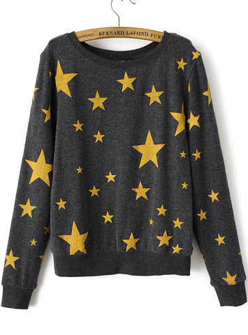 Grey Long Sleeve Stars Print Sweatshirt