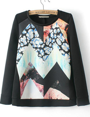 Black Long Sleeve Geometric Print Loose Sweatshirt
