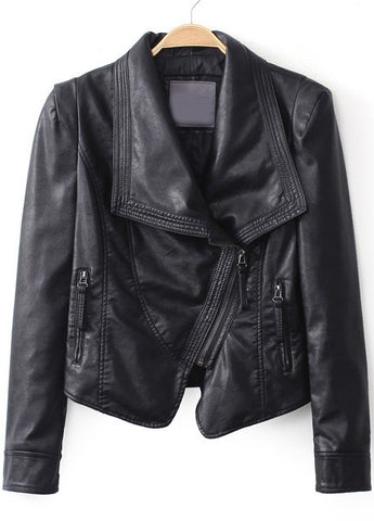 Black Lapel Long Sleeve Zipper Crop Jacket