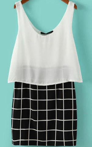 White Black V Neck Plaid Bodycon Dress
