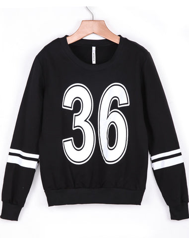 Black Long Sleeve 36 Print Loose Sweatshirt