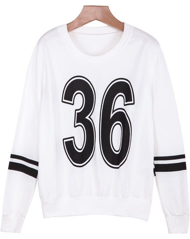 White Long Sleeve 36 Print Loose Sweatshirt