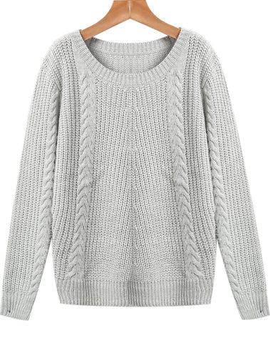 Grey Round Neck Long Sleeve Cable Knit Sweater