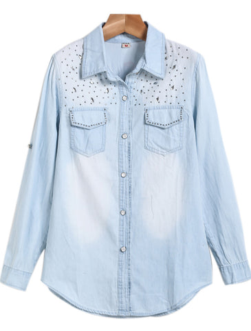 Blue Lapel Long Sleeve Bleached Rhinestone Denim Blouse