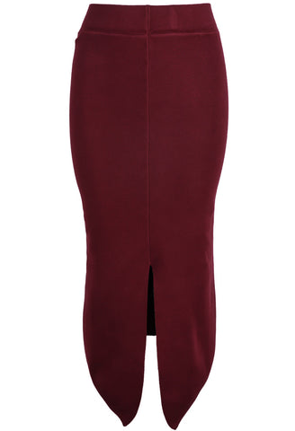Red Split Bodycon High Low Skirt