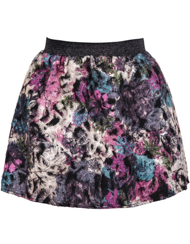 Grey High Waist Floral Flare Skirt
