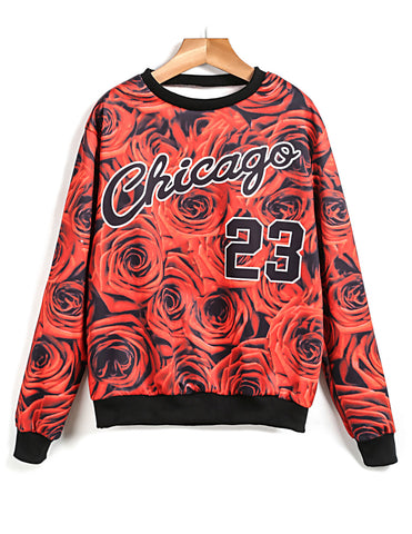 Red Long Sleeve Chicago 23 Roses Print Sweatshirt