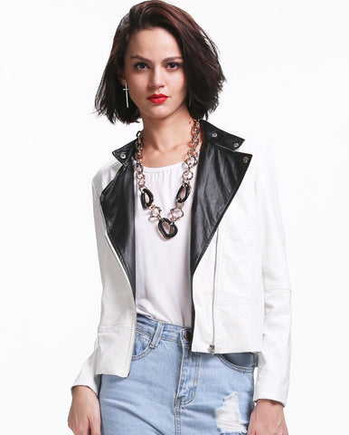White Long Sleeve Contrast Black Pu Leather Jacket
