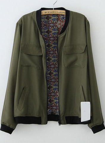 Green Long Sleeve Pockets Floral Jacket