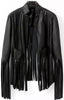 Black Long Sleeve Tassel PU Leather Jacket