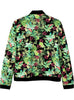 Green Stand Collar Long Sleeve Floral Jacket