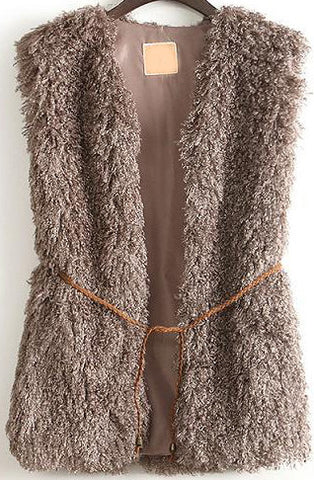 Brown Sleeveless Belt Embellished Coat
