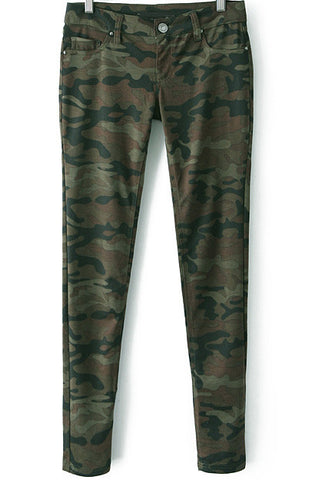 Army Green Camouflage Low Waist Pant
