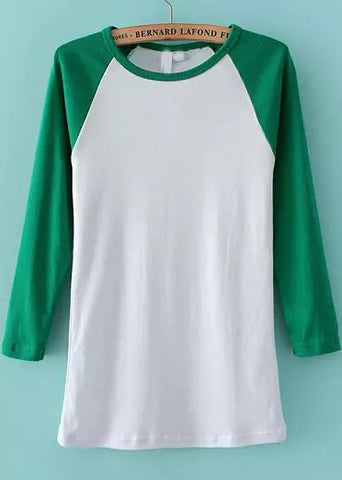 Green Round Neck Long Sleeve Slim T-Shirt