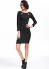 Black Long Sleeve Lace Backless Bodycon Dress