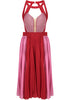 Red Sleeveless Hollow Pleated Chiffon Dress