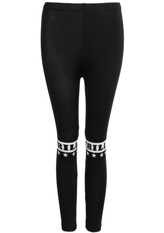 Black Slim TRILL Stars Print Leggings